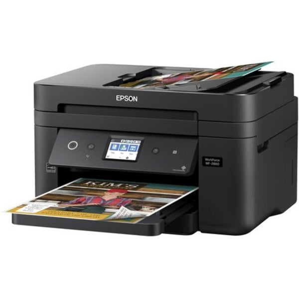 Epson Workforce C11cg28201 Wf-2860 All-in-one Wireless Color Inkjet Printer, Copier, Scanner, Faxer - 14 Ppm (black), 7.5 Ppm (color) - U4800 X 1200 Dpi - Hi-speed Usb - Wi-fi - 150 Sheets - Mac, Pc
