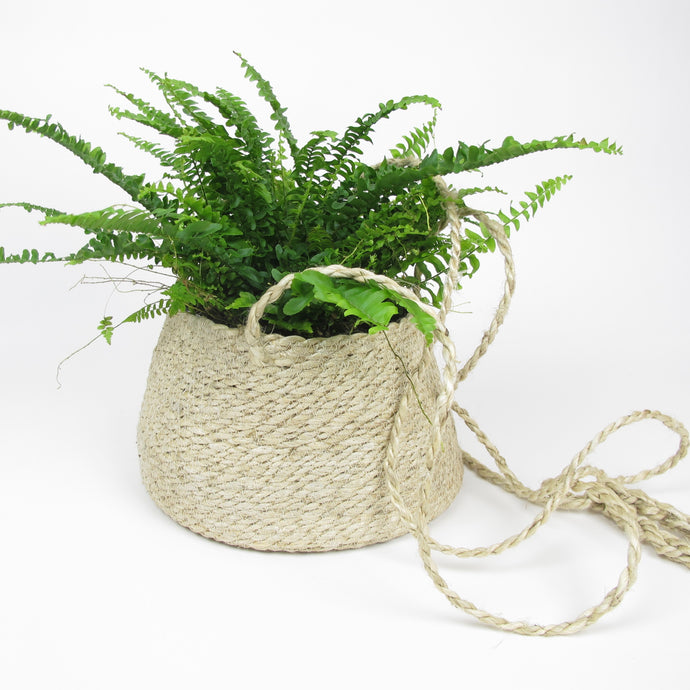 Hanging wide woven basket