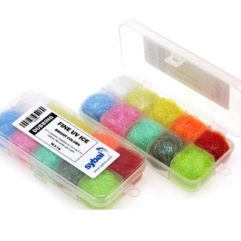 Fine UV Ice Dubbing Box bright colours