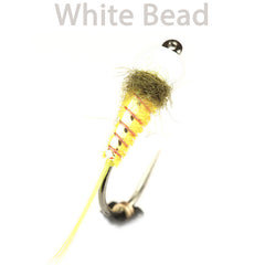 Yellow Body Flashback Nymphs, white bead