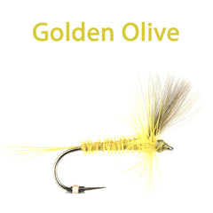 CDC Winged Hackled Dries, Golden olive