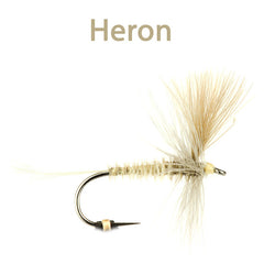 CDC Winged Hackled Dries, heron
