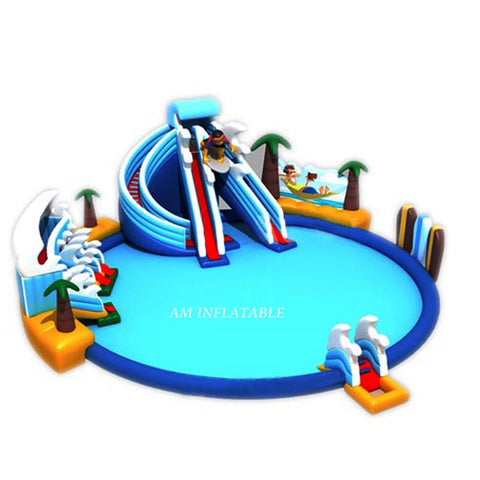 Commercial giant inflatable swimming pool slide inflatable water park AMWP1