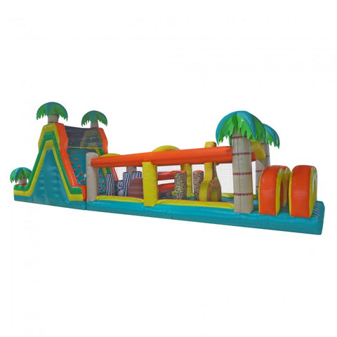 60ft Inflatable Tropical Obstacle Course