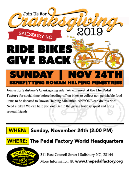Cranksgiving 2019 with The Pedal Factory Salisbury, NC 11/24/19