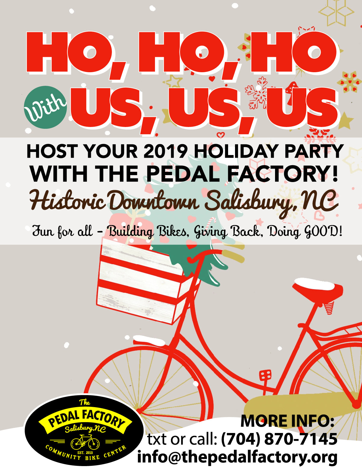 Holiday Parties at The Pedal Factory Salisbury NC