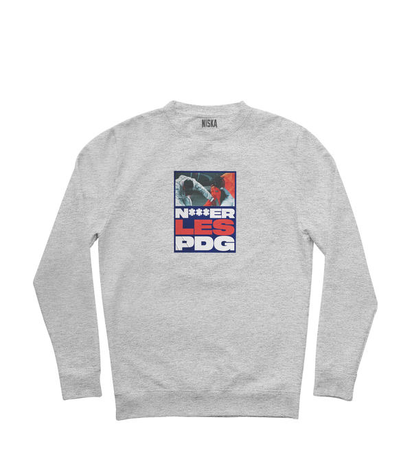 "SWEAT-SHIRT COL ROND | ""PDG"" - Gris Chiné clair"