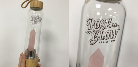 Crystal Energy Water Bottle with Bamboo Lid - Rose Glow Tea Room