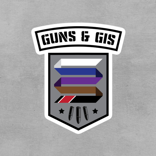 "Guns & Gis Camp 3""x3"" Kiss Cut Sticker"