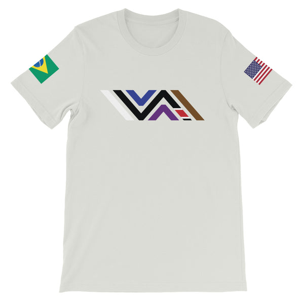 Vida Icon Tee with Brazilian and American Flags on Short-Sleeve Unisex Premium T-Shirt