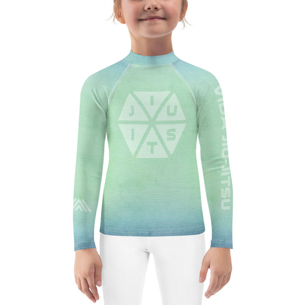 Jiu-Jitsu Blue-Green Fade Kids Rash Guard