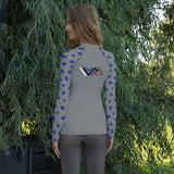 Jiu-Jitsu Flowers Ranked BJJ Women's Rash Guard - BLUE