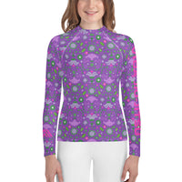 Pink and Purple Flowers Youth Jiu-Jitsu Rash Guard