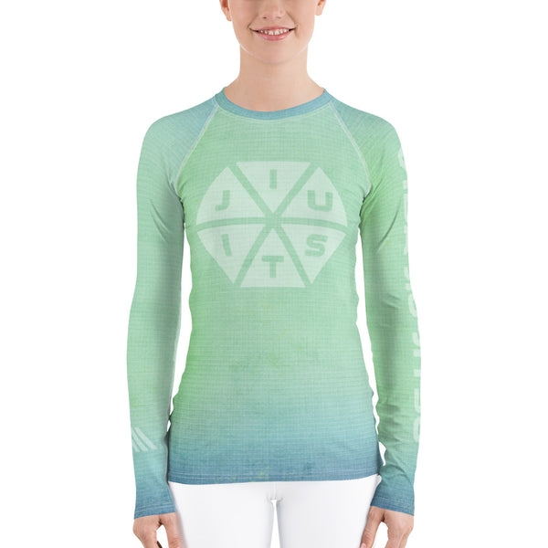 Jiu-Jitsu Hexagon Blue Green Fade Women's Rash Guard
