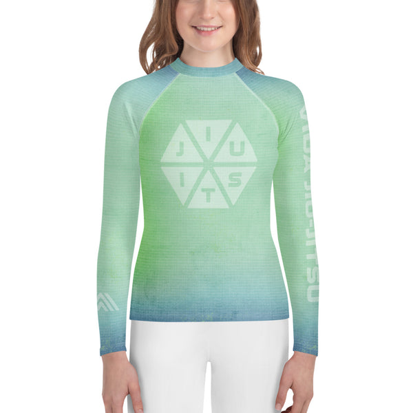 Jiu-Jitsu Hexagon Blue-Green Fade Youth Rash Guard