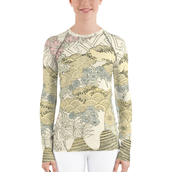 Floral Waves Japanese Illustration Women's BJJ Rash Guard