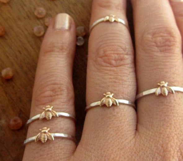 Cute Little Golden Bee Thin Ring