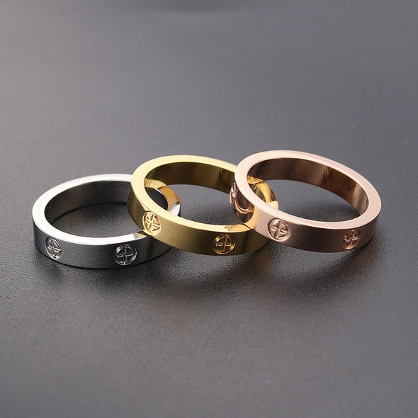 Rose, Gold and Silver Rings  (with or without crystal)