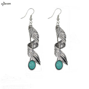 Gypsy spiral leaf earrings with stones bohemian