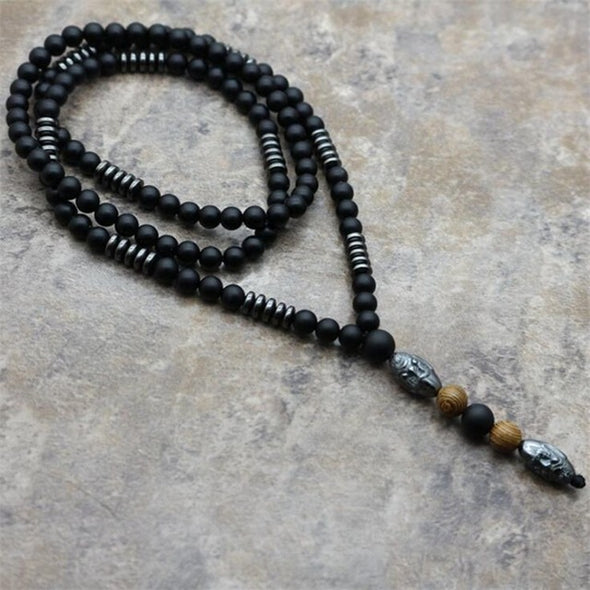 Men's Necklace Buddha Lava Mala Vintage Stone Black Hematite Carving Bead
