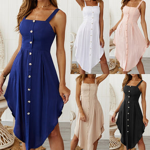 Sleeveless Solid Button Sling Dress