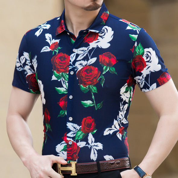 Men's Hawaiian Shirt Slim Fit Short Sleeve