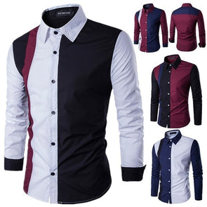 Slim fit casual men's shirts long sleeve turn-down collar