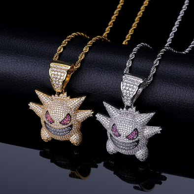Gengar Punk Necklace Gold, Purple and Silver Color Charms