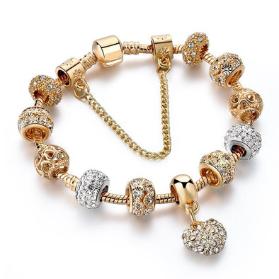 Charm Gold and Crystal Heart Bracelet