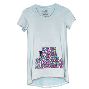 Cozy Loungewear Tee Shirt with Built In Shelf Bra for Support and Kangaroo Pocket with Inner Phone Pocket Ivory and Aqua with Floral Pocket