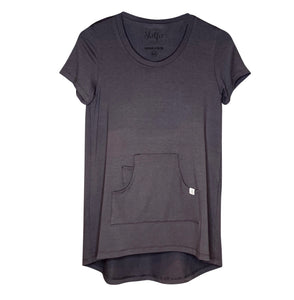 Cozy Loungewear Tee Shirt with Built In Shelf Bra for Support and Kangaroo Pocket with Inner Phone Pocket Solid Gray