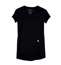 Cozy Loungewear Tee Shirt with Built In Shelf Bra for Support and Kangaroo Pocket with Inner Phone Pocket Solid Black