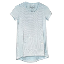 Cozy Loungewear Tee Shirt with Built In Shelf Bra for Support and Kangaroo Pocket with Inner Phone Pocket Ivory and Aqua Stripe