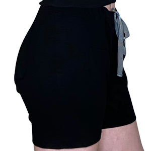 Cozy Loungewear Drawstring Shorts with Pockets Solid Black