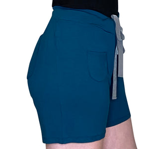 Cozy Loungewear Drawstring Shorts with Pockets Solid Teal