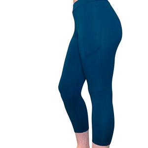 Cozy Loungewear Leggings with Phone Pocket Solid Teal