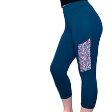 Soft, Cozy Leggings with Side Pocket, teal and floral