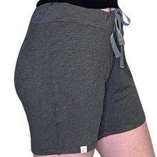 Cozy Loungewear Drawstring Shorts with Pockets Solid Gray