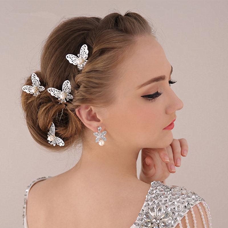 Silver Plated Butterfly Hairpin