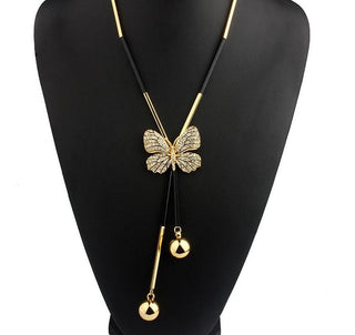 Elegant Butterfly Long Beaded Necklace