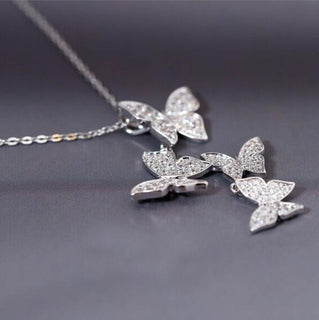 Multiple Zircon Butterfly Necklaces