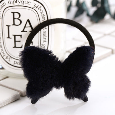 Fur Butterfly Elastic Hair Bands