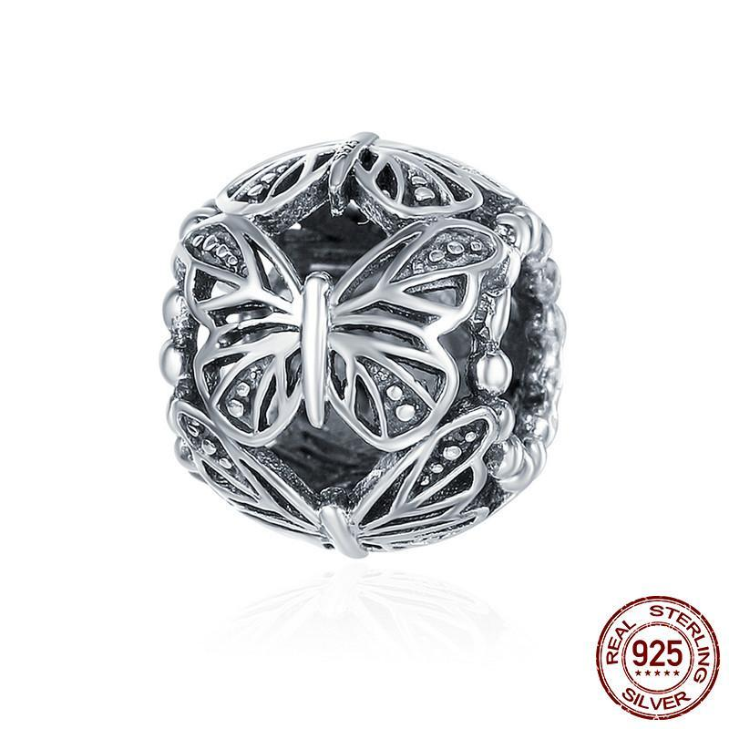 🦋 Fluhtr™ 925 Sterling Silver Butterfly Round Charm