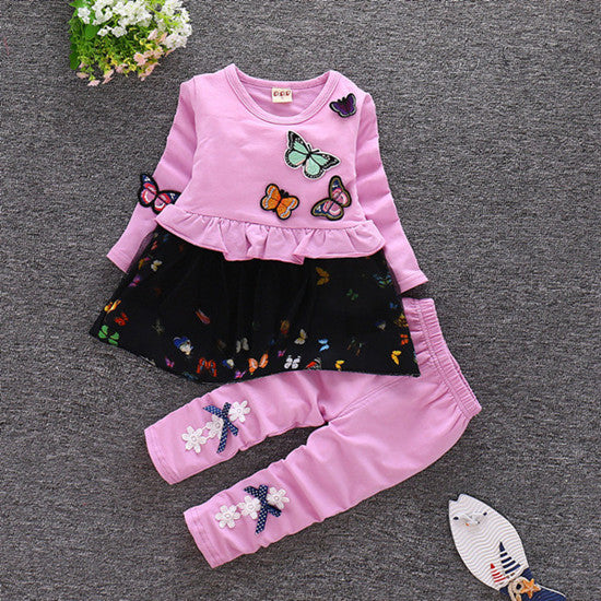 Butterfly Dress and Pants Clothing Sets