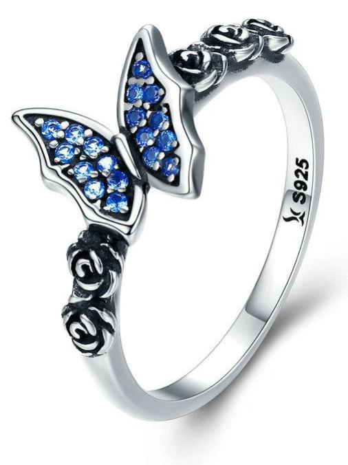 Silver Rose & Butterfly Style Rings