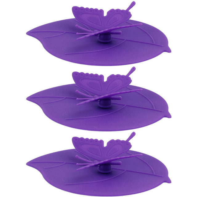 Colorful Lovely 3D Butterfly + Leaves Silicone Cup Cover