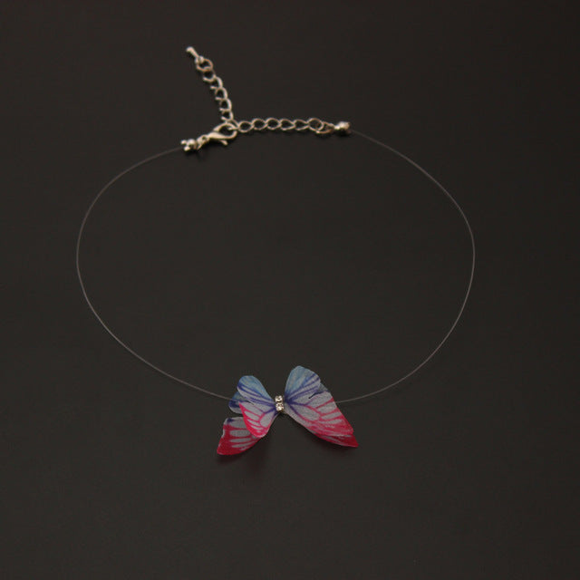 Choker Necklace Butterfly Pendant