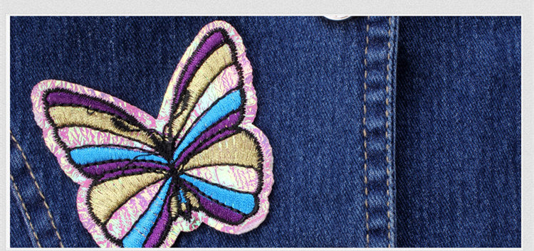 Embroidered Butterfly Jeans Clothing Set