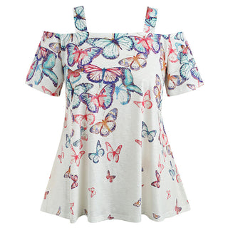 Cold Shoulder Butterfly T-Shirt