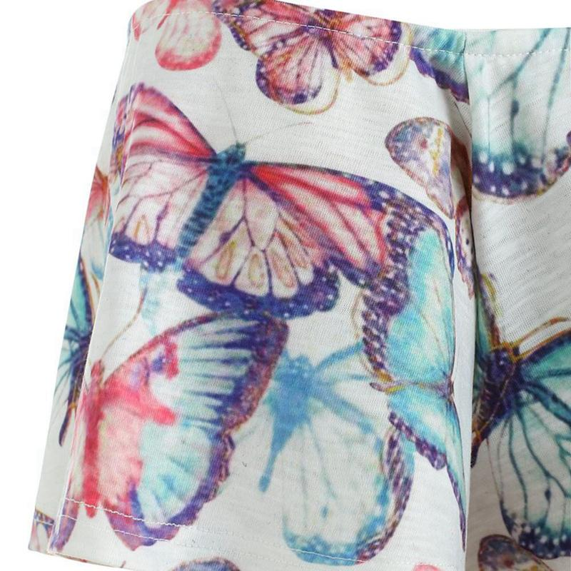 Cold Shoulder Butterfly Print Blouses Plus Size Up To 5XL